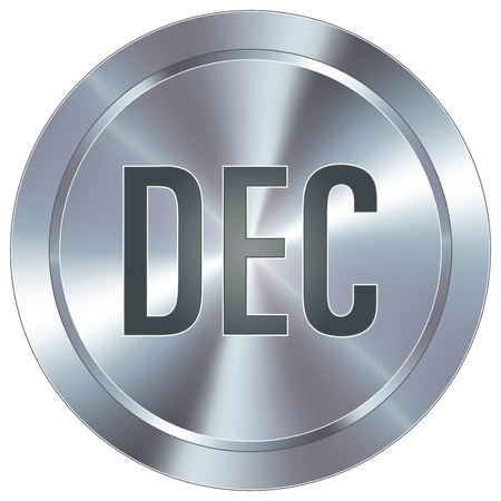 stainless: December calendar month icon on round stainless steel modern industrial button