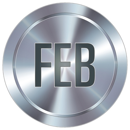 February month calendar icon on round stainless steel modern industrial button  Illustration