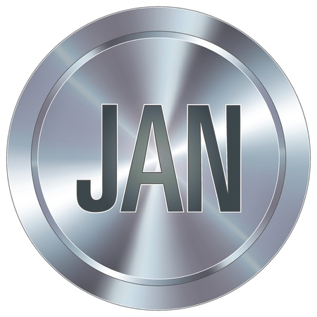 January calendar month icon on round stainless steel modern industrial button
