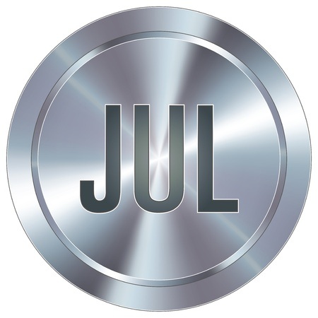 industrial icon: July calendar month icon on round stainless steel modern industrial button