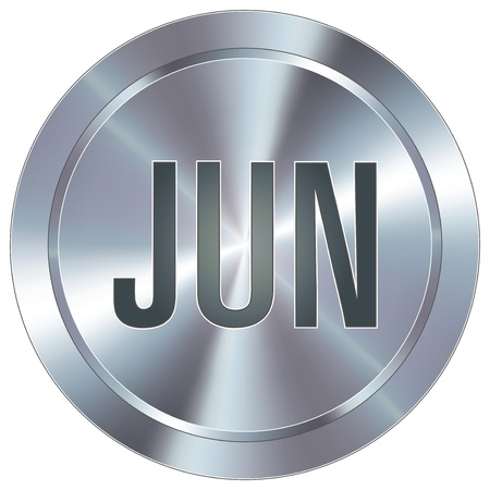 stainless: June calendar month icon on round stainless steel modern industrial button