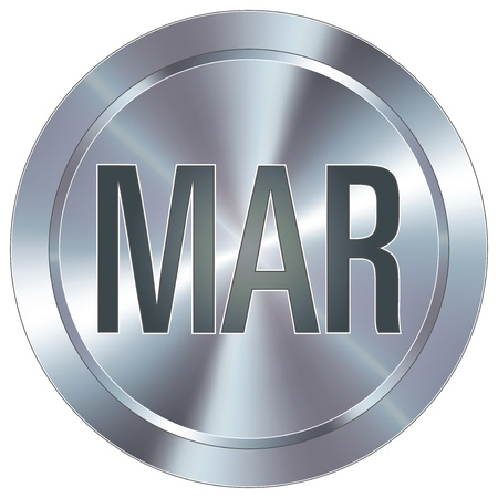 March calendar month icon on round stainless steel modern industrial button