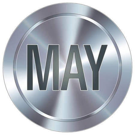 May calendar month icon on round stainless steel modern industrial button Vector