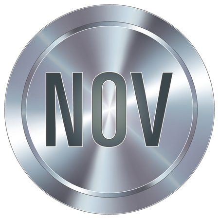 button: November calendar month icon on round stainless steel modern industrial button  Illustration