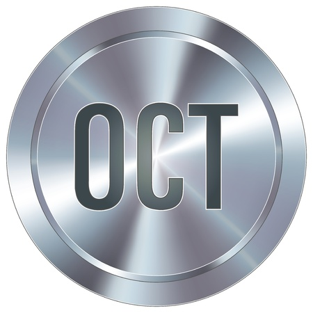 october calendar: October calendar month icon on round stainless steel modern industrial button  Illustration