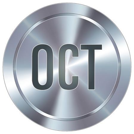 calendario octubre: Octubre icono de calendario mes en el botón redondo de acero inoxidable industrial moderna
