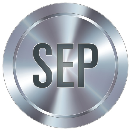 september calendar: September calendar month icon on round stainless steel modern industrial button