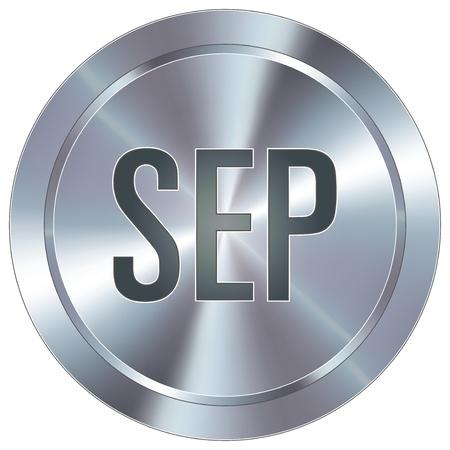 calendario septiembre: Septiembre icono de calendario mes en el bot�n redondo de acero inoxidable industrial moderna Vectores