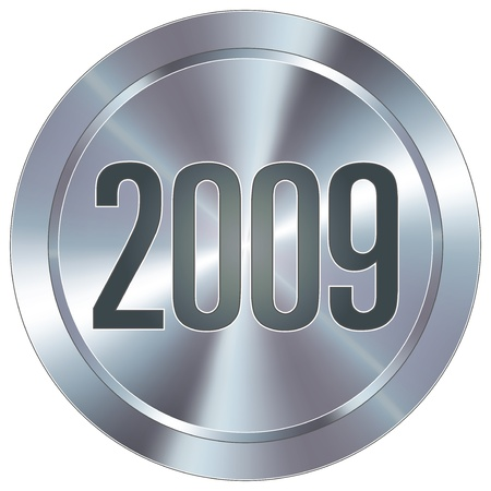 stainless: 2009 calendar year icon on round stainless steel modern industrial button