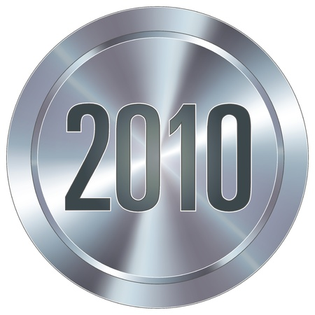 stainless: 2010 calendar year icon on round stainless steel modern industrial button