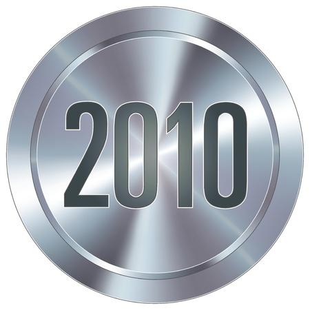 2010 calendar year icon on round stainless steel modern industrial button