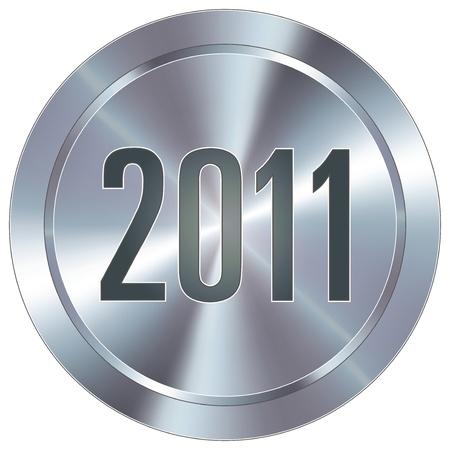 2011 calendar year icon on round stainless steel modern industrial button Illustration