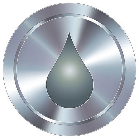 Oil or water liquid drop icon on round stainless steel modern industrial button  Vector
