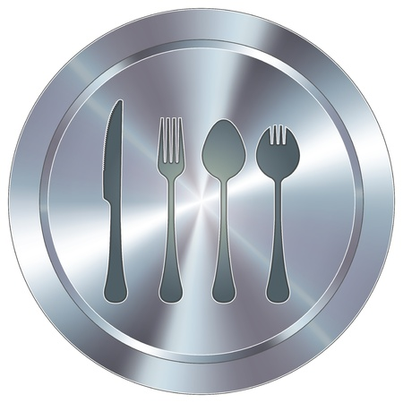 stainless: Eating utensils icon on round stainless steel modern industrial button