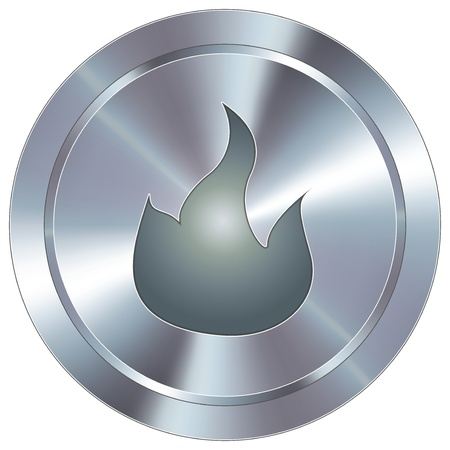 hiking trail: Fire or campfire icon on round stainless steel modern industrial button  Illustration