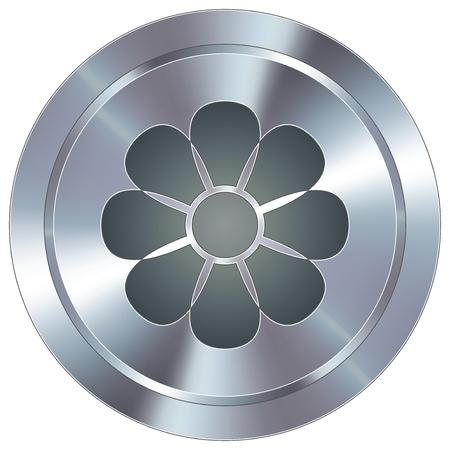 둥근 스테인리스 현대 산업 버튼에 꽃이나 봄 아이콘
