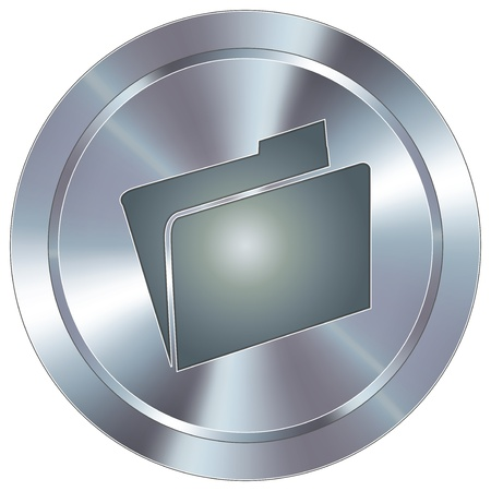 File folder icon on round stainless steel modern industrial button