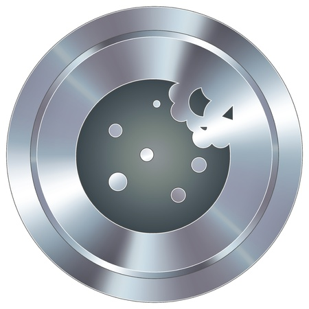 Cookie icon on round stainless steel modern industrial button  Çizim