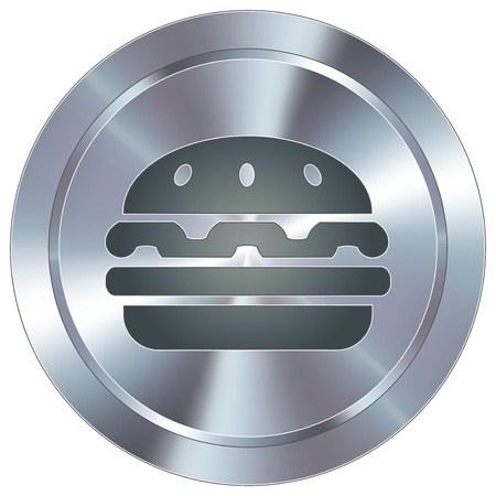 stainless: Hamburger icon on round stainless steel modern industrial button  Illustration