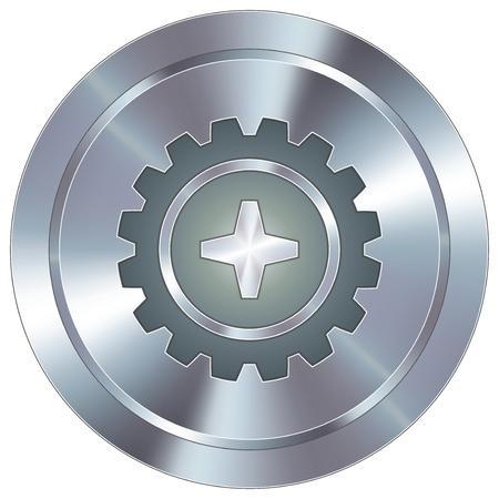 preferencia: Gear o icono de configuraci�n en redondo de acero inoxidable bot�n moderno industrial