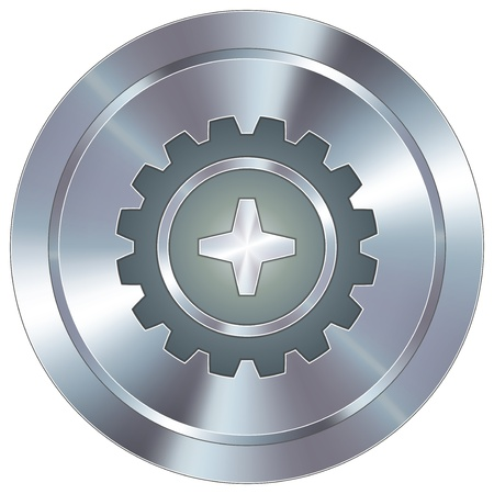 Gear or settings icon on round stainless steel modern industrial button Vector