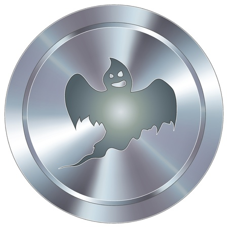 Ghost or halloween icon on round stainless steel modern industrial button