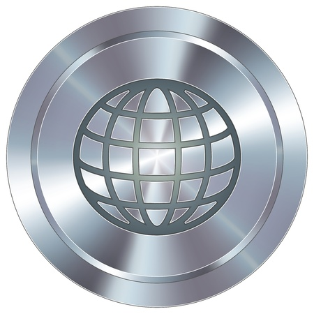 shiny metal: Globe icon on round stainless steel modern industrial button