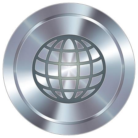 world location: Globe icon on round stainless steel modern industrial button