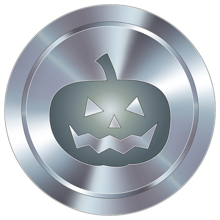 Pumpkin or halloween icon on round stainless steel modern industrial button Stock Vector - 14707582