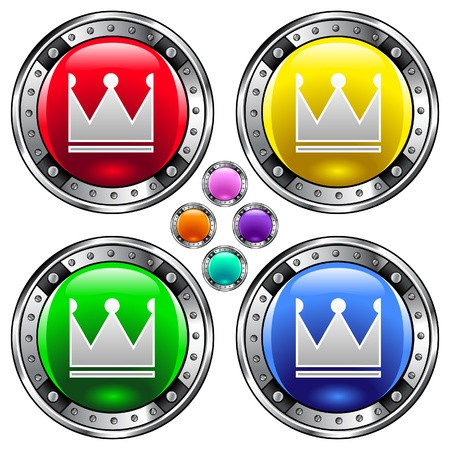 Crown icon on round colorful vector buttons suitable for use on websites, in print materials or in advertisements  Set includes red, yellow, green, and blue versions   Vector