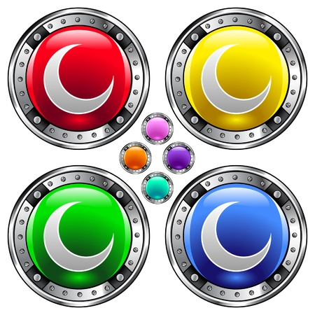 Crescent moon icon on round colorful vector buttons