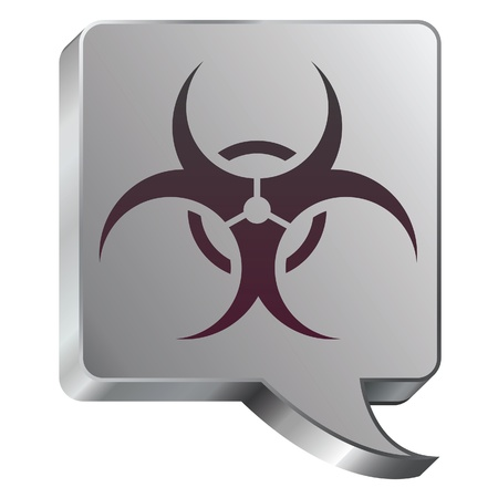 Biohazard warning icon on stainless steel modern industrial voice bubble icon suitable for use as a website accent, on promotional materials, or in advertisements   Stock Vector - 14707943