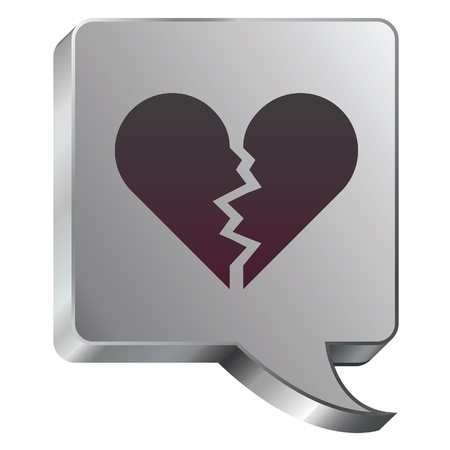 Broken heart icon on stainless steel modern industrial voice bubble icon suitable for use as a website accent, on promotional materials, or in advertisements Stock Vector - 14707983