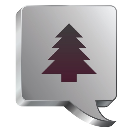 Christmas tree icon on stainless steel modern industrial voice bubble icon suitable for use as a website accent, on promotional materials, or in advertisements
