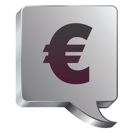 transact: Euro currency icon on stainless steel modern industrial voice bubble icon suitable for use as a website accent, on promotional materials, or in advertisements   Illustration