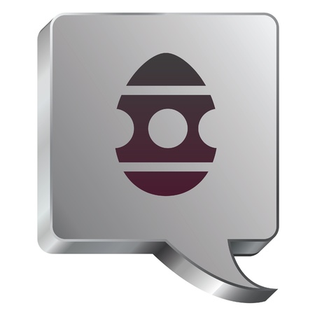 rebirth: Easter egg icon on stainless steel modern industrial voice bubble icon suitable for use as a website accent, on promotional materials, or in advertisements   Illustration