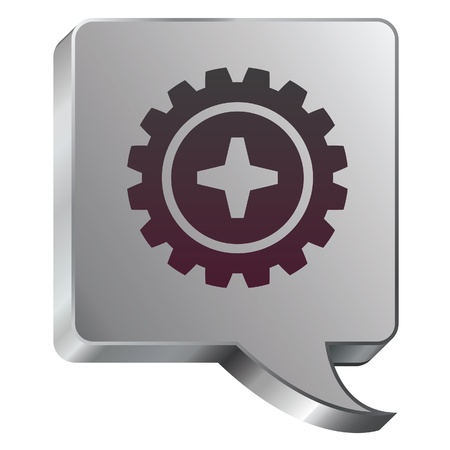 thought bubbles: Gear or settings icon on stainless steel modern industrial voice bubble icon suitable for use as a website accent, on promotional materials, or in advertisements