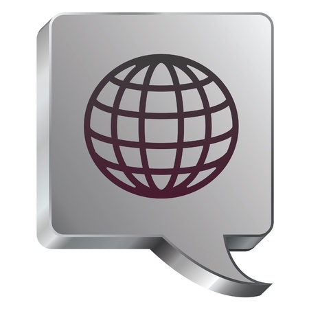 Globe icon on stainless steel modern industrial voice bubble icon suitable for use as a website accent, on promotional materials, or in advertisements