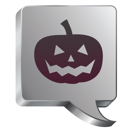 Halloween pumpkin Jack-o-lantern icon on stainless steel modern industrial voice bubble icon suitable for use as a website accent, on promotional materials, or in advertisements  Vector