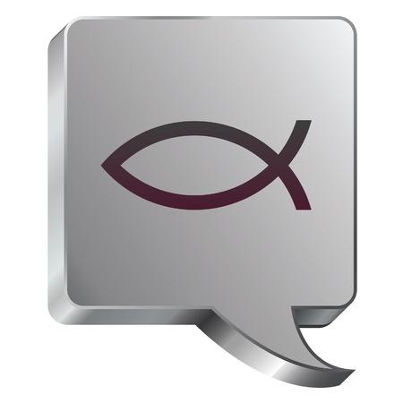 Christian Jesus Fisch-Symbol auf Edelstahl modernen Industriegesellschaft Stimme Blase Symbol für den Einsatz auf einer Internet-Akzent, auf Werbematerialien, oder in der Werbung Standard-Bild - 14707931