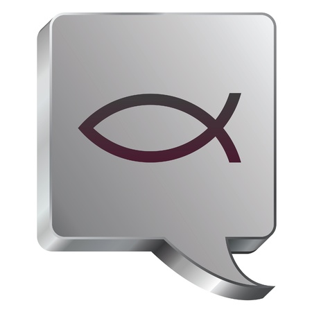 Christian Jesus fish icon on stainless steel modern industrial voice bubble icon suitable for use as a website accent, on promotional materials, or in advertisements   Illusztráció
