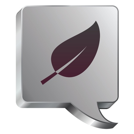 industrial park: Leaf or nature icon on stainless steel modern industrial voice bubble icon suitable for use as a website accent, on promotional materials, or in advertisements