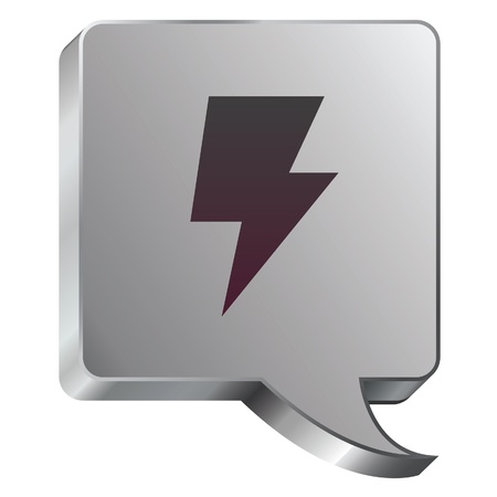 jolt: Electricity or lightning bolt icon on stainless steel modern industrial voice bubble icon suitable for use as a website accent, on promotional materials, or in advertisements