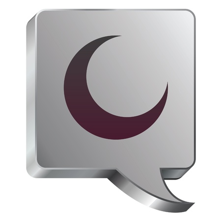 Crescent moon icon on stainless steel modern industrial voice bubble icon suitable for use as a website accent, on promotional materials, or in advertisements