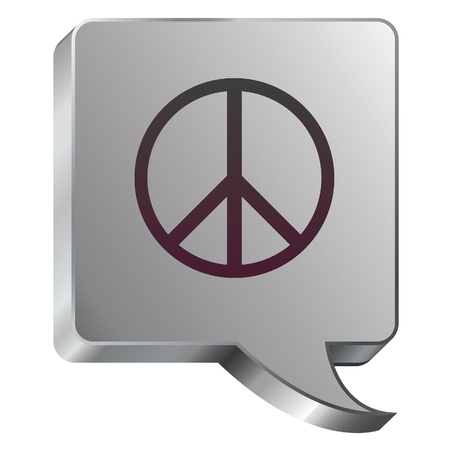 vietnam war: Peace sign icon on stainless steel modern industrial voice bubble icon suitable for use as a website accent, on promotional materials, or in advertisements