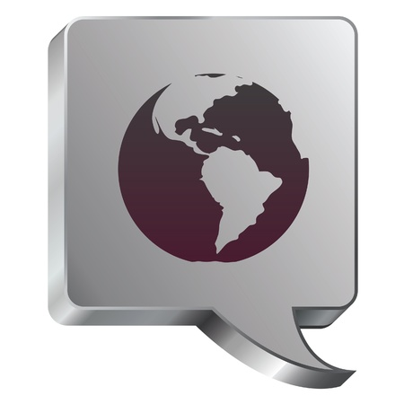 stainless: Globe icon on stainless steel modern industrial voice bubble icon suitable for use as a website accent, on promotional materials, or in advertisements