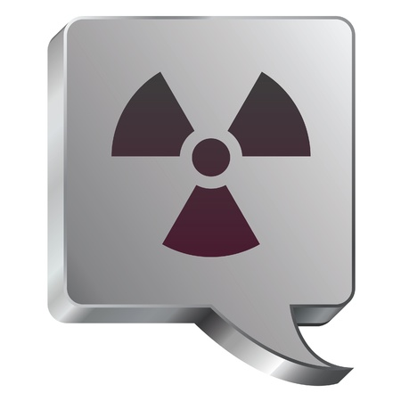 Radiation hazard icon on stainless steel modern industrial voice bubble icon suitable for use as a website accent, on promotional materials, or in advertisements   Stock Vector - 14707987