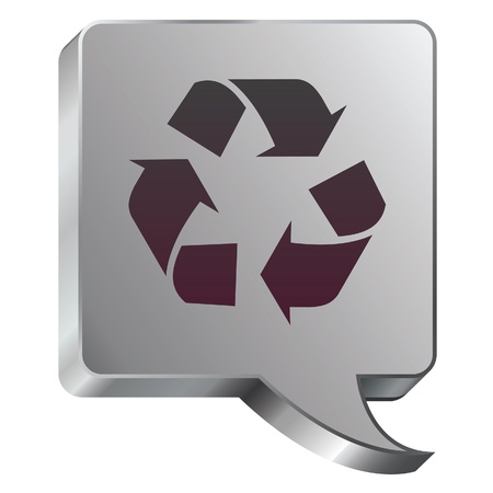 stainless: Recycle symbol icon on stainless steel modern industrial voice bubble icon suitable for use as a website accent, on promotional materials, or in advertisements