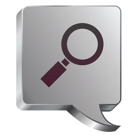 Magnifying glass or enlarge icon on stainless steel modern industrial voice bubble icon suitable for use as a website accent, on promotional materials, or in advertisements