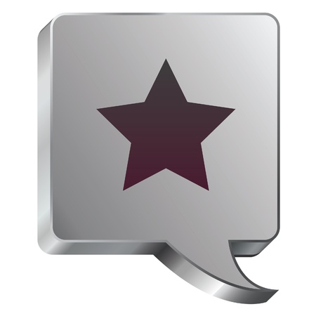 Star icon on stainless steel modern industrial voice bubble icon suitable for use as a website accent, on promotional materials, or in advertisements  Illustration